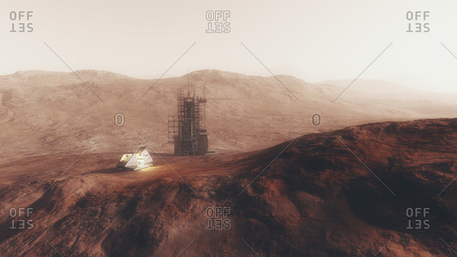 Space station and capsule on the surface of a red planet