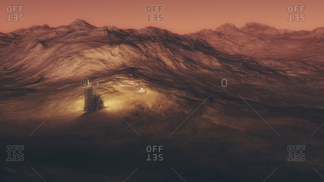 Space station and capsule on a red planet
