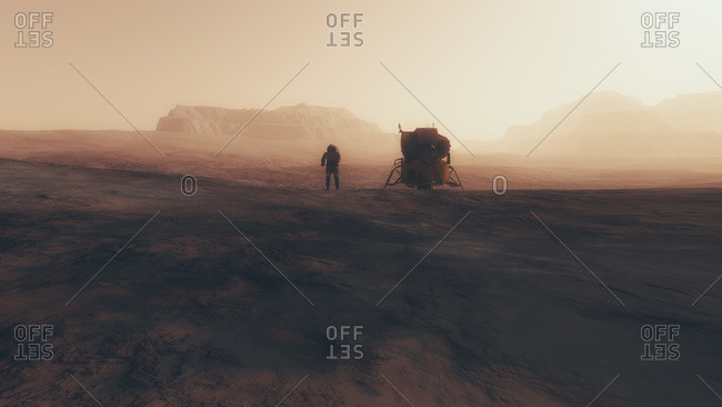 Capsule and astronaut on the surface of a red planet
