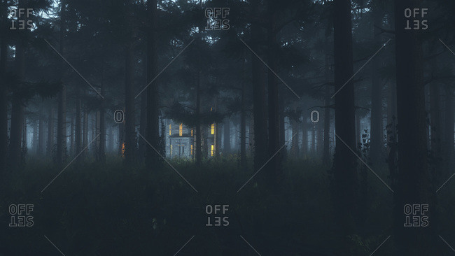 Illuminated house in a foggy forest