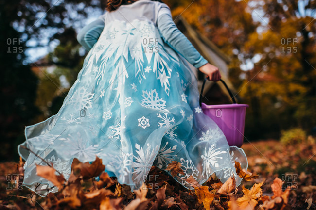 Little girl's costume in fall leaves