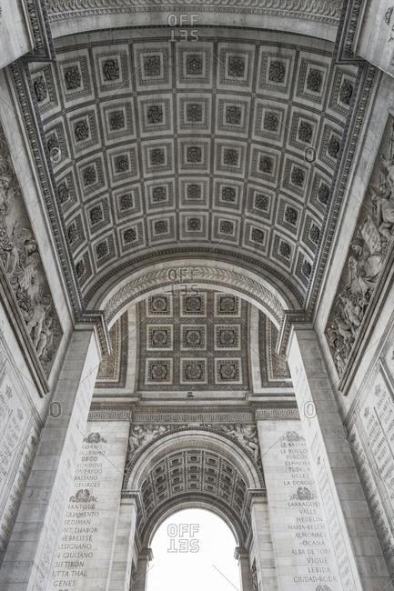 Underside of Arc de Triomphe, Paris, France