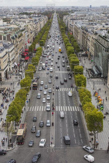 Bird's eye view of Champs-Elysees, in Paris