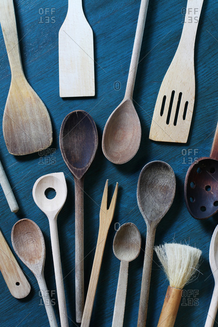 Various wood kitchen utensils