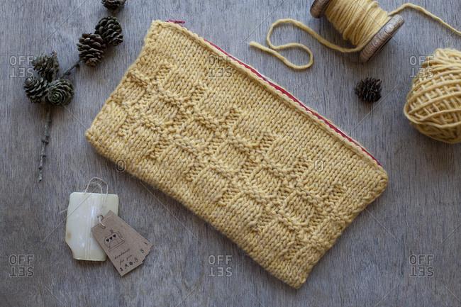 Knit purse and yarn