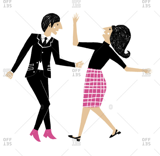 Man and woman in mod style in red and pink dancing
