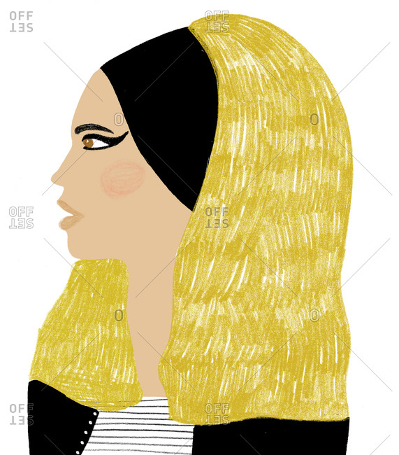 Portrait of blond woman with cat eye makeup and headband