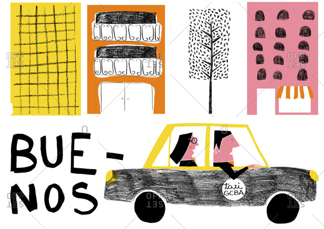 Buildings and taxi with passengers in Buenos Aires