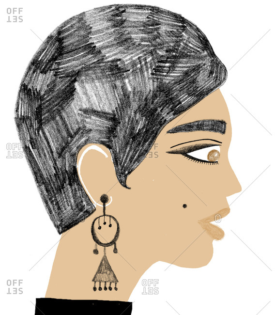 Side view portrait of woman with short haircut and elaborate earrings