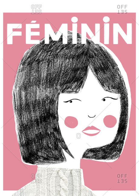 """Portrait of a woman with a bobbed hairstyle on pink background with the word """"Feminine"""""""