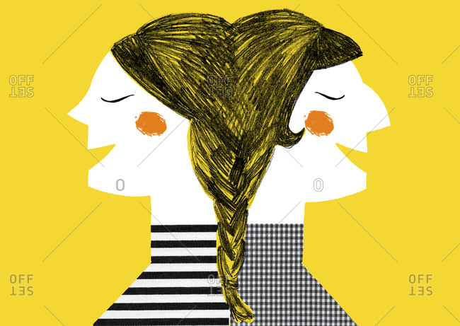Twin women standing back to back on yellow background