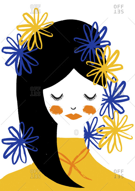 Portrait of a woman in yellow shirt with eyes closed and hair surrounded by blue and yellow flowers