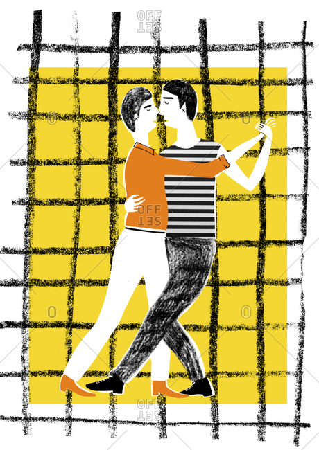 Male couple dancing the tango on gridded background