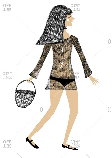Woman in a sheer dress carrying a basket