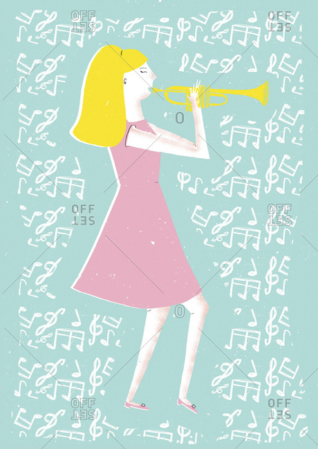 Blond woman playing trumpet on blue background surrounded by music notes