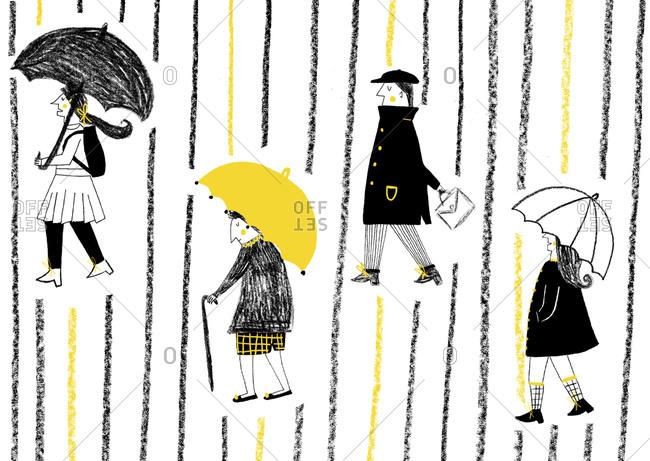 Four people walking in rain