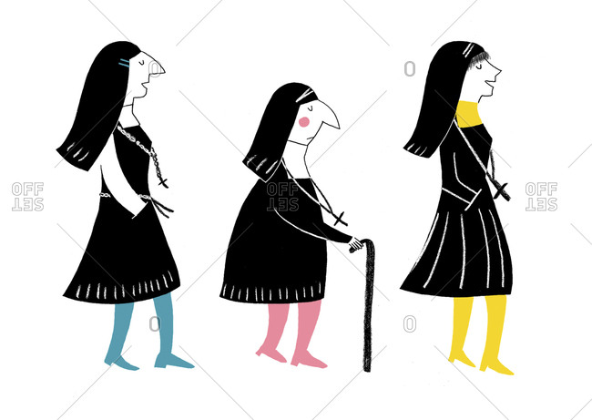 Three nuns dressed in habits walking in a row