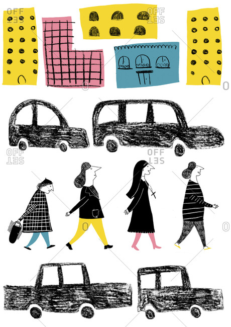 Four women walking in city with cars and buildings