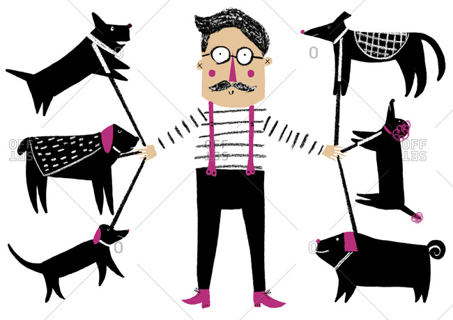 Whimsical mustachioed man with six dogs on leashes