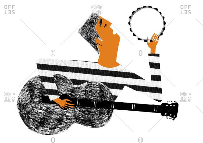 Man singing while playing guitar and tambourine