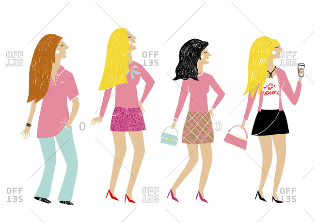Four fashionable women standing in a row