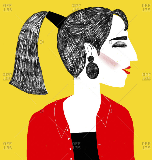 Portrait of woman with dark hair in ponytail
