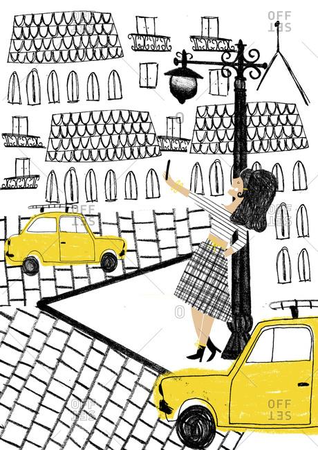 Woman taking a selfie on a city street corner