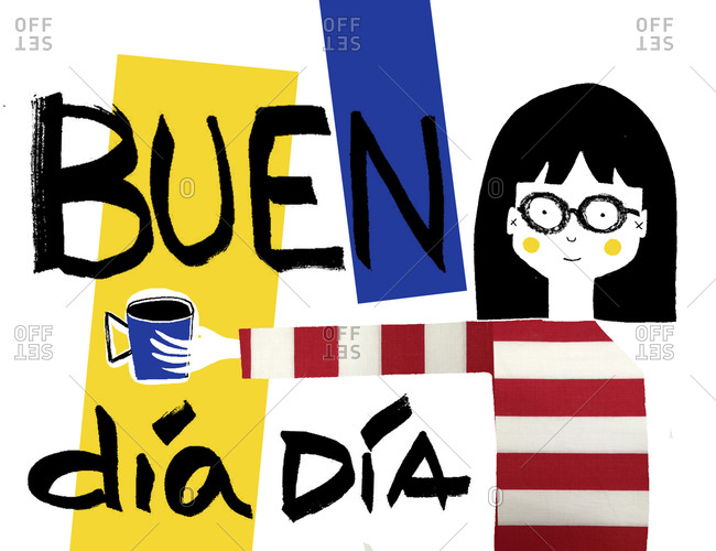 Woman in striped shirt and glasses with coffee mug and colorful background with the Spanish words Buen Dia Dia