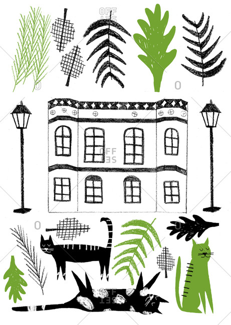 Building and lampposts with leaves and cats