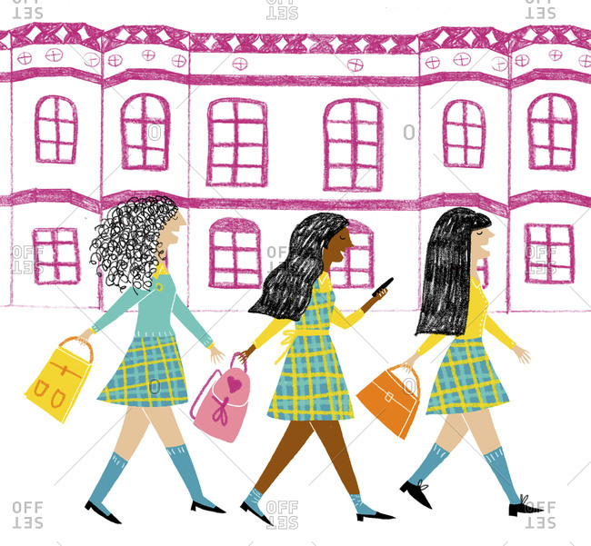 Three young girls in plaid uniforms walking with their school bags on city street