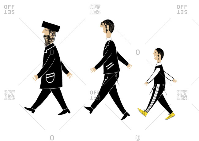 Three Orthodox Jewish in traditional clothing males walk in a row