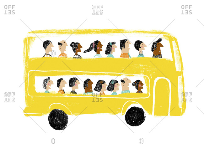 People riding on a yellow double decker tour bus