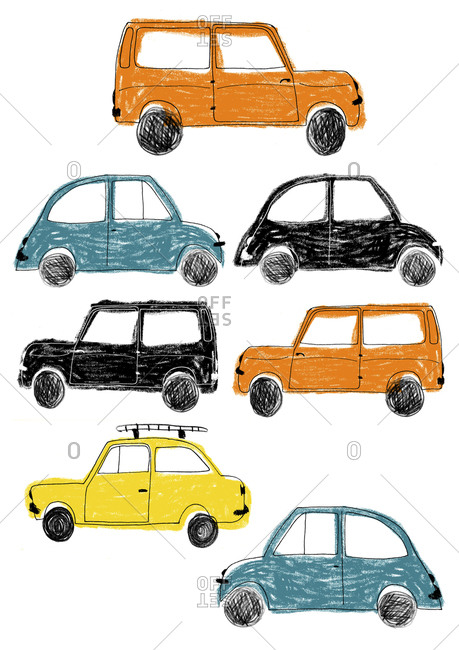 Collage of orange, black, blue and yellow vehicles