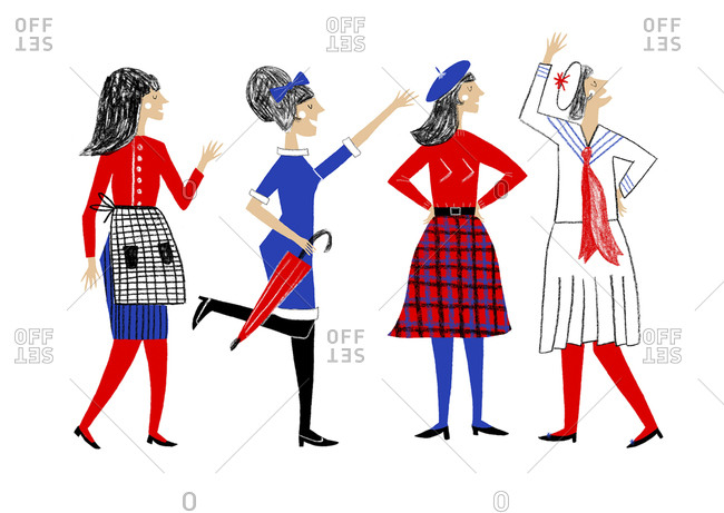 Four women in different styles of dress in red, blue, white and black