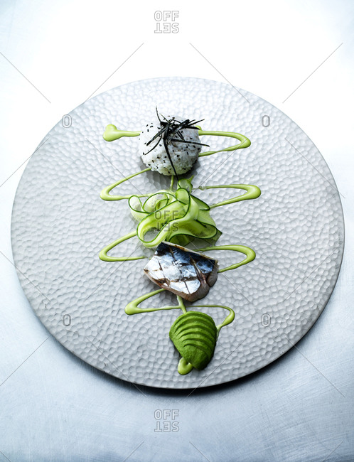 Variety of sushi appetizer on serving tray