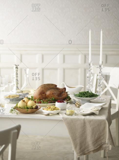 Thanksgiving candlelit dinner served