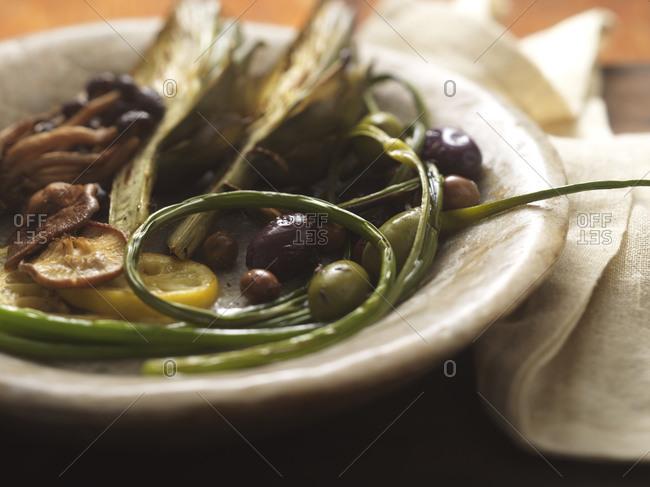 Saut�ed squash, olives, and scallions dinner dish