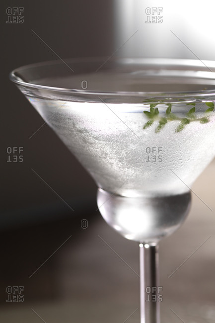Close up of clear cocktail with herb garnish