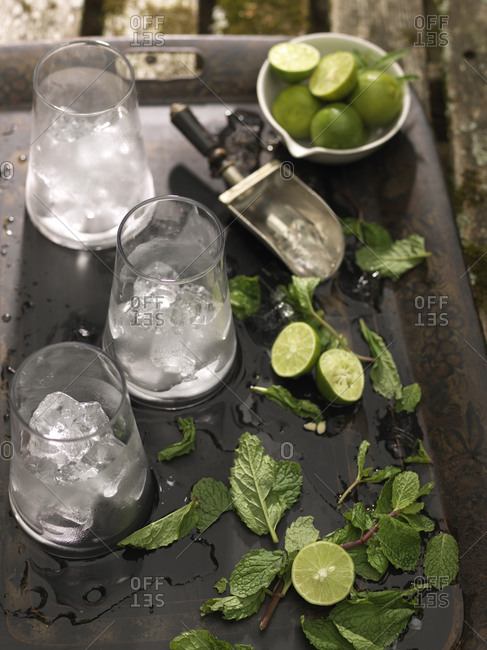 Tray filled with messy mojito drink ingredients