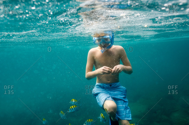 Boy watching fish while snorkeling in Huatulco, Mexico