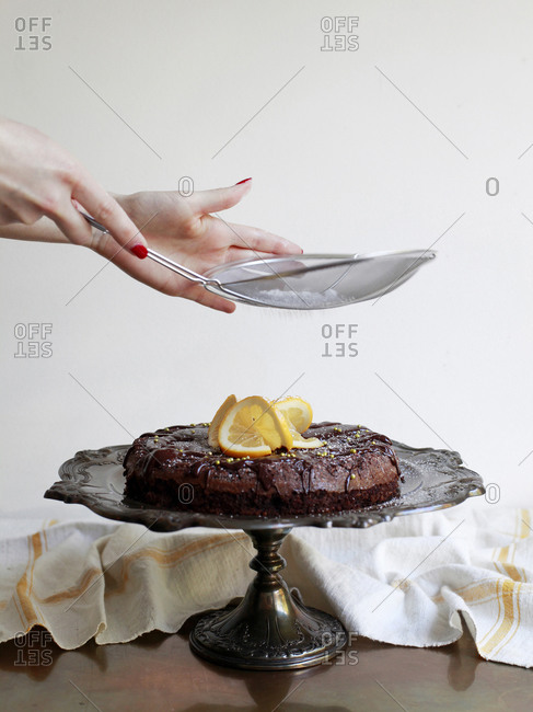 Chocolate cake on a silver stand