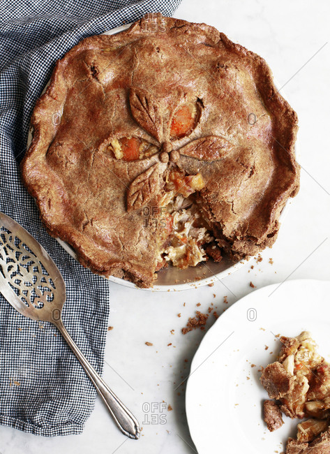 Serving of fresh cooked savory pie