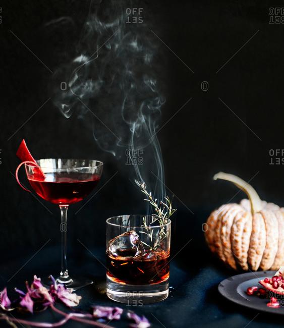 Smoking rosemary cocktail and pumpkin