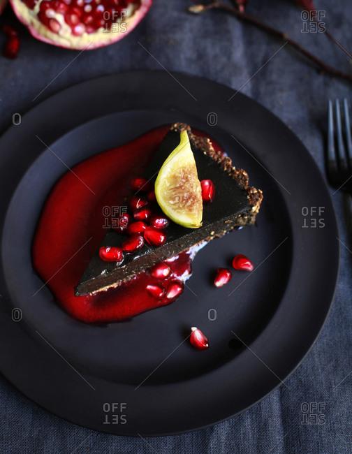 Black sesame tart slice and fruit