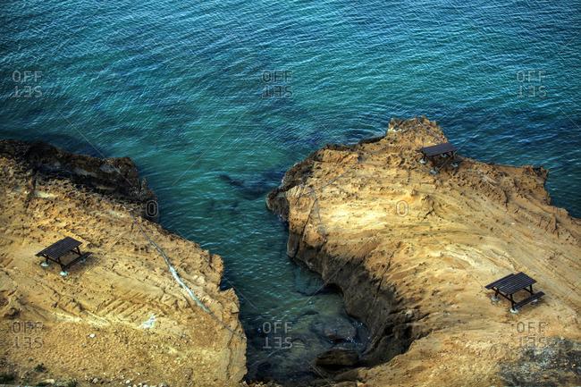Picnic tables along the Sea of Oman coast, Chabahar, Iran