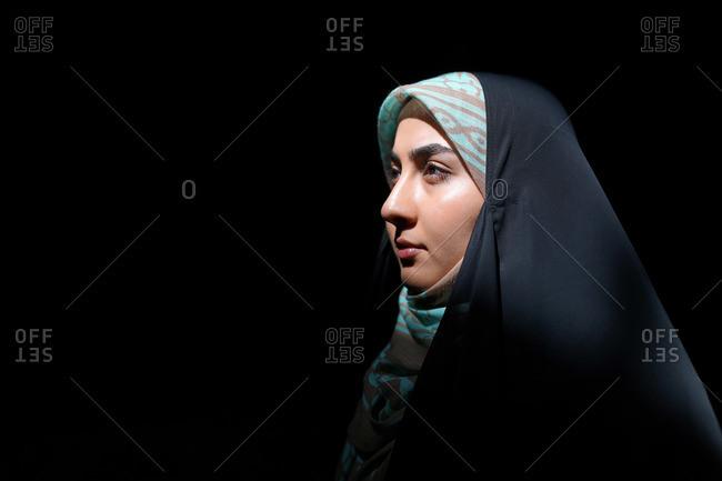 Beautiful young Iranian girl with hijab, Tehran, Iran
