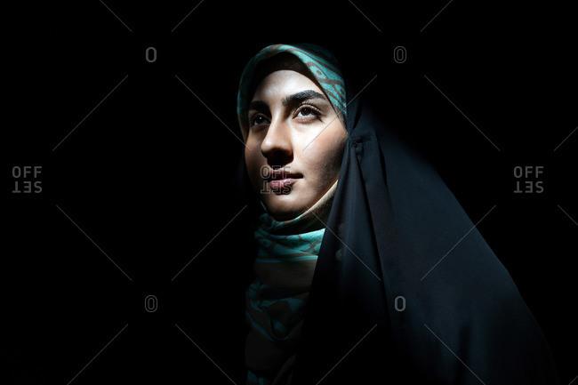 Young beautiful Iranian girl with hijab, Tehran, Iran