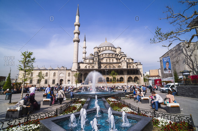 Istanbul, Turkey - March 23, 2014: Yeni Mosque (New Mosque) and fountain, Istanbul, Turkey