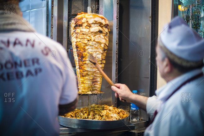 April 23, 2014: Doner kebab, a typical Turkish food in Istanbul, Turkey