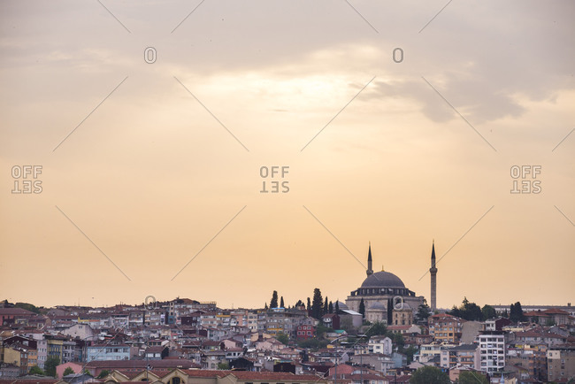 Hilltop mosque at sunset, Istanbul, Turkey
